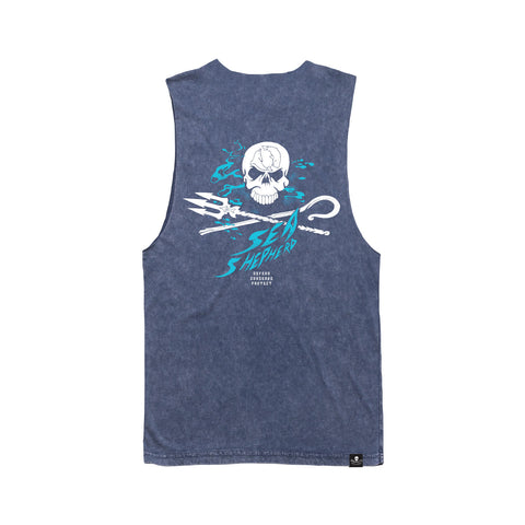 Stand Fast Whale Sanctuary Forever Muscle Tee - Stone Wash Denim