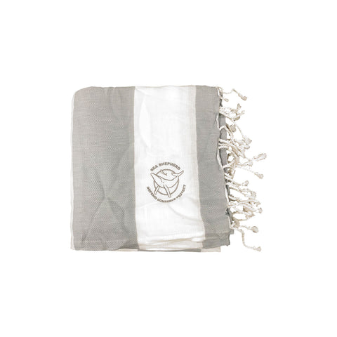 Sea Shepherd Classic Turkish Towel Unisex Small Logo Grey Stripe