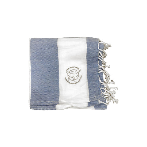 Sea Shepherd Classic Turkish Towel Unisex Small Logo Navy Stripe