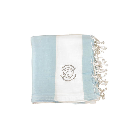 Sea Shepherd Classic Turkish Towel Unisex Small Logo Sky Blue Stripe 100% Organic Cotton