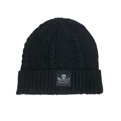 Jolly Roger Cable Knit Beanie Unisex Small Logo 100% Organic Cotton