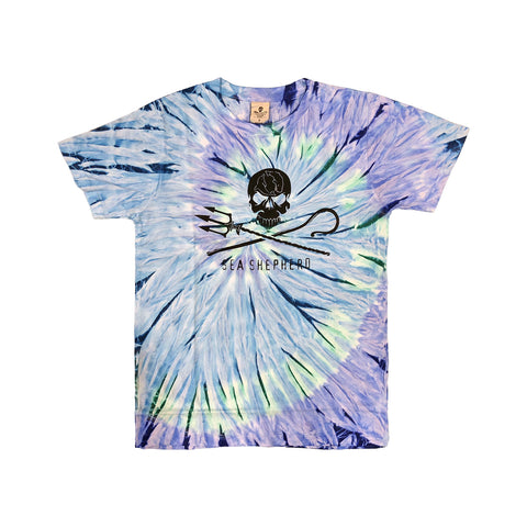 Jolly Roger Blue Tie Dye Tee Unisex Big Logo 100% Organic Cotton