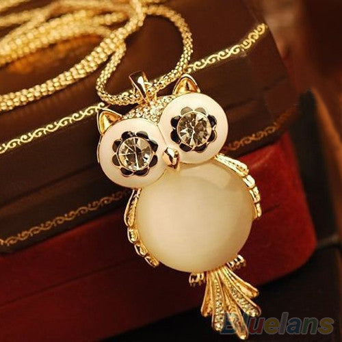 Women's Alloy Rhinestone Statement Hot Snowflake Shape Eye Owl Pendant Necklace  1OR6