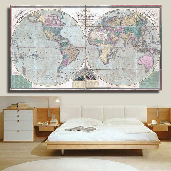 Classic Large World Map Canvas Wall Painting