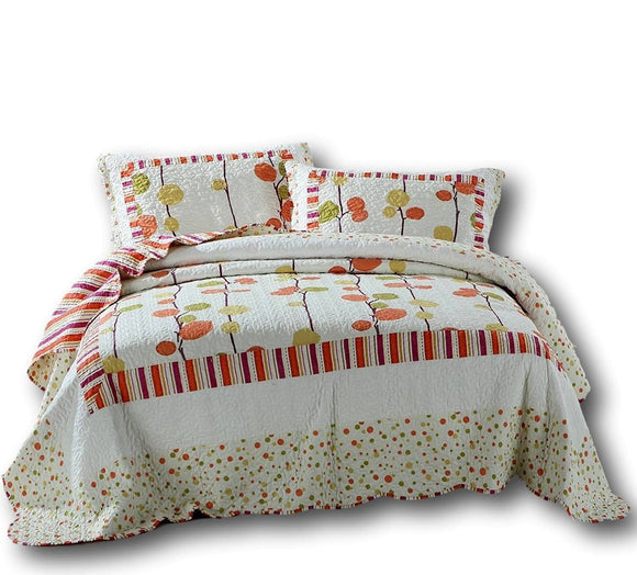 Autumn Harvest Clementine Polka Dot Orange & White Reversible Bedspread Set
