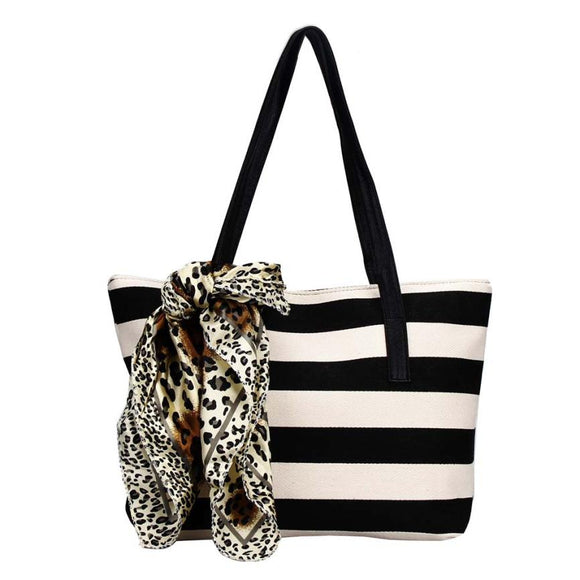 Stylish Striped Canvas Tote Handbag