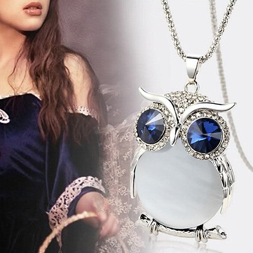 Women's Owl Rhinestone Crystal Pendant Necklace Long Sweater Chain
