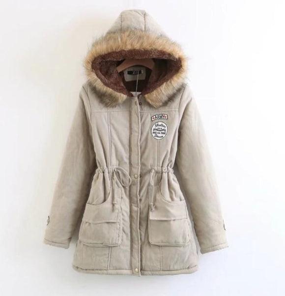 Womens Beige Army Style Hooded Parka Winter Coat