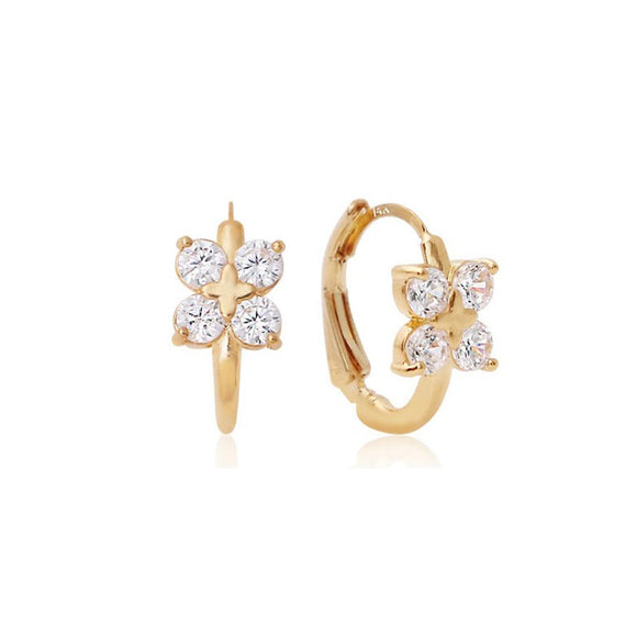 Astrid Floral Small Hoop Crystal Earrings with 14K Gold Pin