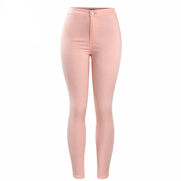 Stylish High Waist Peach Skinny Jeans