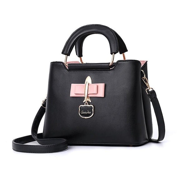 Fashion Color Block Design Handle Bag