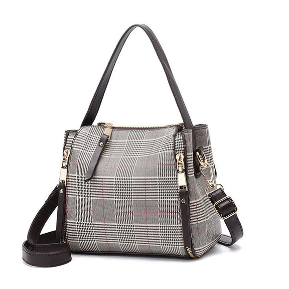Vintage Style Fashion Plaid Shoulder Bag