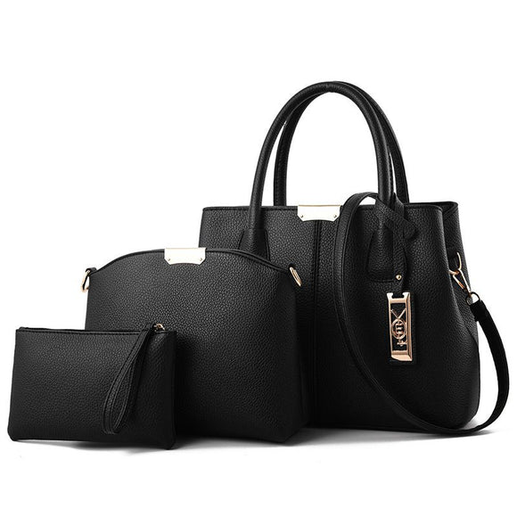 Solid Color Fashion 3-Piece Handle Bag Set