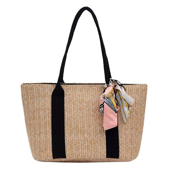 Handmade Straw Bow Knot Decor Tote Bag