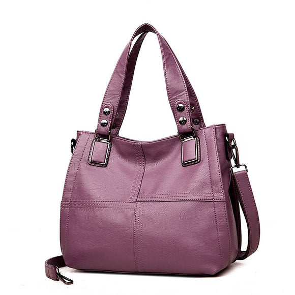 Elegant Solid Color Stitching Design Women's Tote Bag