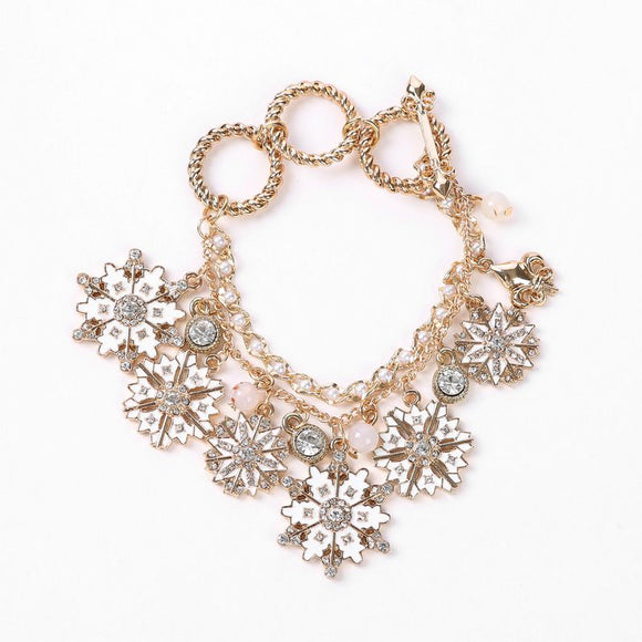 Unique Christmas Snowflake Design Women Alloy Bracelet Festival Gift