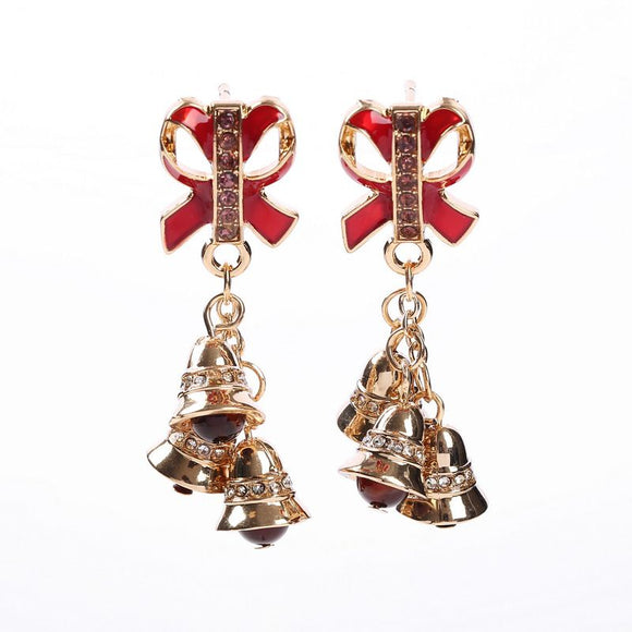 Women's Christmas Bell Bowknot Design Earrings