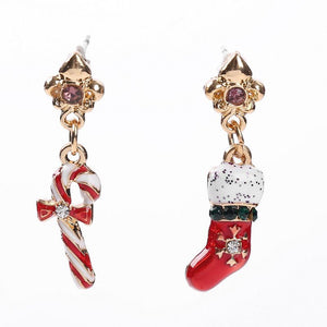 Women's Asymmetric Christmas Candy Cane Stocking Design Alloy Earrings