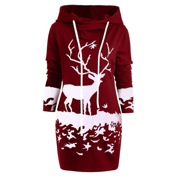 Women's Long-Sleeve Elk Print Christmas Casual Hooded Dress
