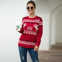 Snow Deer Pattern Christmas Women Long-sleeve Sweater