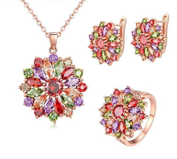 Stunning Multicolor Crystal Earrings Necklace And Ring Set