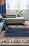 "Indian Gaia Dhurrie 3'5"" x 5'8"" Flat-weave Kilim Rug in Navy Blue"