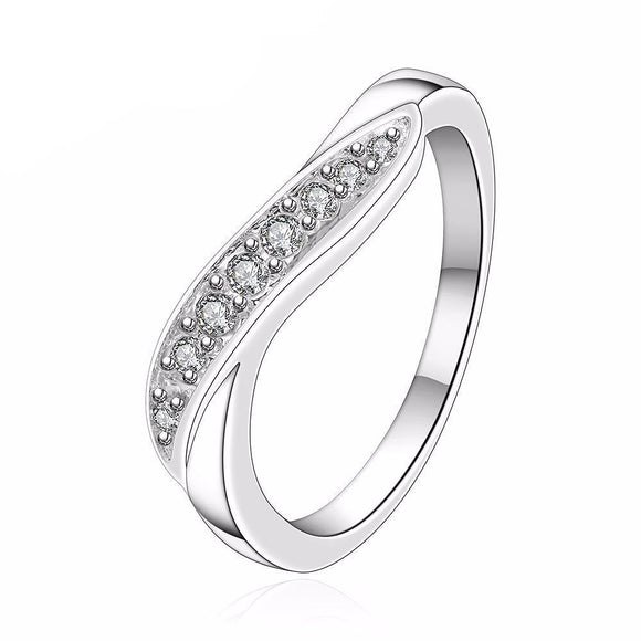 Brilliant Silver Plated Curved Ring