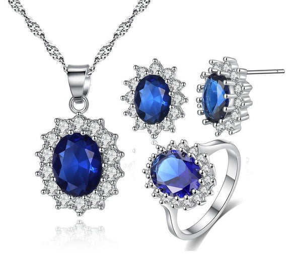 Elegant Vintage Crystal Necklace Earrings and Ring Jewelry Set