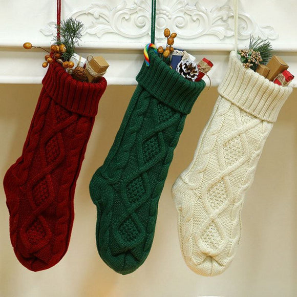 Large Size Solid Color Woolen Knitted Christmas Hanging Sock