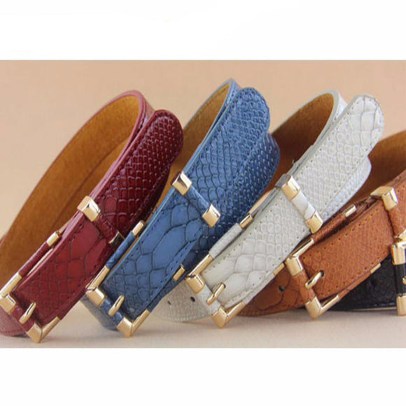Women's Fashion PU Leather Snakeskin Belt