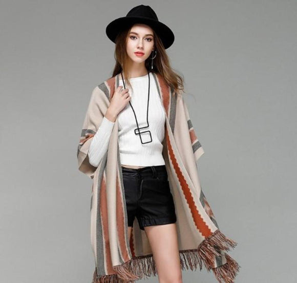 Womens Batwing Open Front Poncho Cape