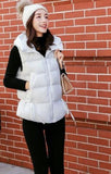 Womens Short Zipped Up Puffer Hooded Vest in Black