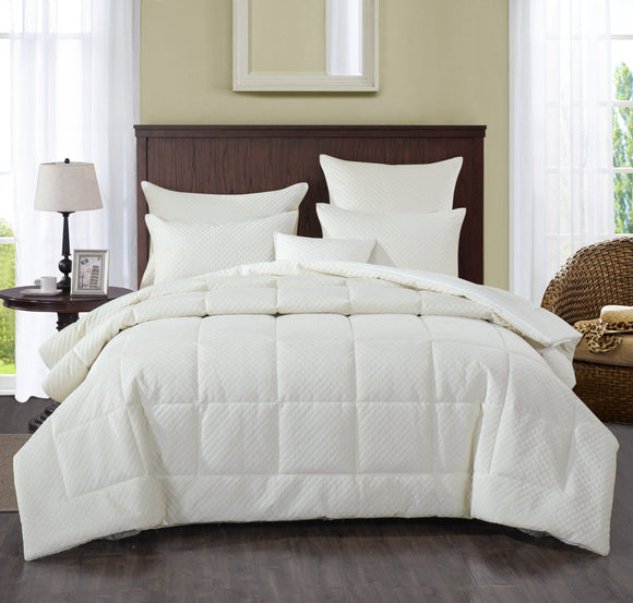 Soft Velvet Eggshell White Warm Plush 3D Pattern Comforter Set