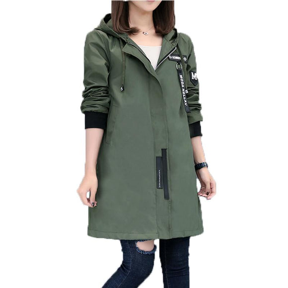 Womens Casual Hooded Zipped Up Jacket in Army Green
