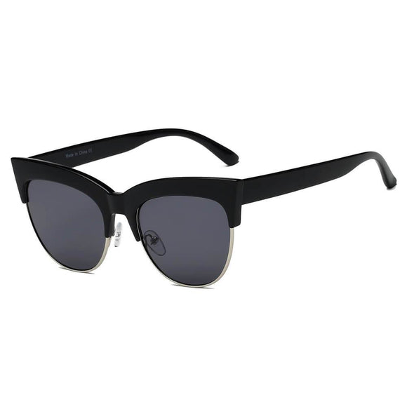 HENRIETTA | S2062 - Women Half Frame Round Cat Eye Sunglasses