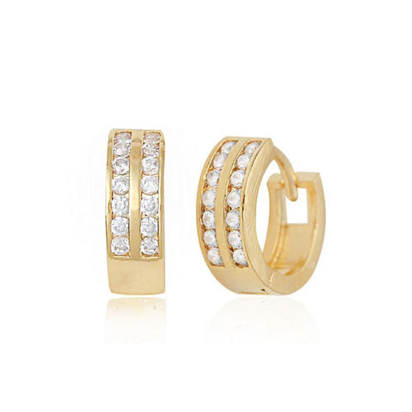 Alena Twin Row Crystals Hoop Earrings with 14K Gold Pin
