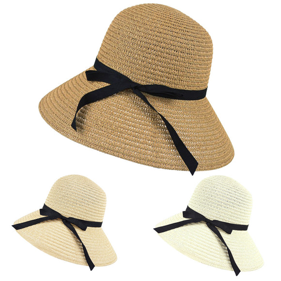 Women's Wide Brim Summer Beach Straw Elegant Sun Hat