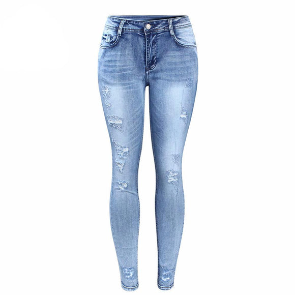 Stylish High Waist Light Blue Distressed Skinny Jeans