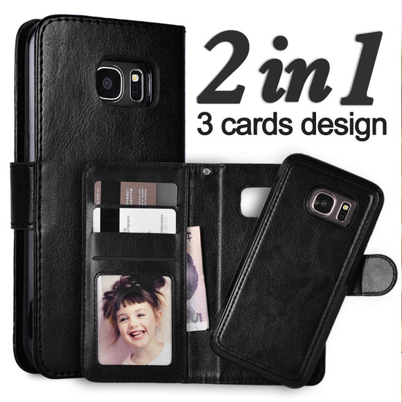 Versatile Magnetic Wallet Detachable Leather Cover Case For Samsung Galaxy S7 Edge S6 Edge S8 Plus