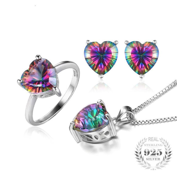 Elegant Rainbow Fire Mystic Topaz Sterling Silver Jewelry Set