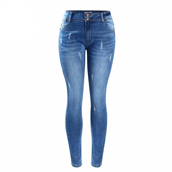 Stylish High Waist Medium Blue Stressed Skinny Jeans