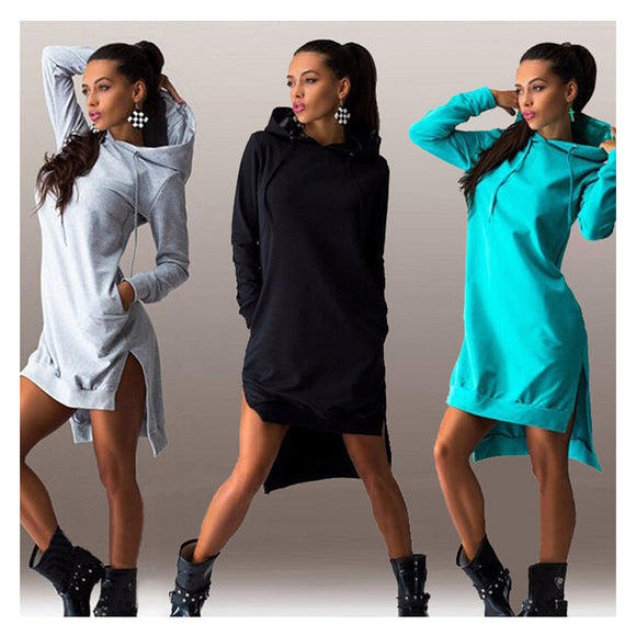 Women's Asymmetric Long Sleeve Hooded Sweatshirt