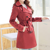 Womens Red Double Breasted Trench Coat