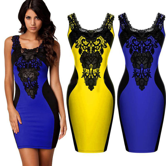 New Style Sexy Bodycon Women's Sleeveless Embroidered Evening Dress