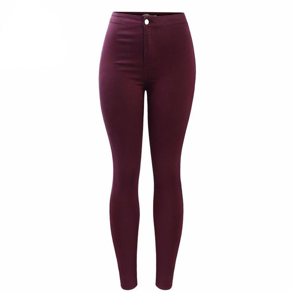 Stylish High Waist Burgundy Skinny Jeans