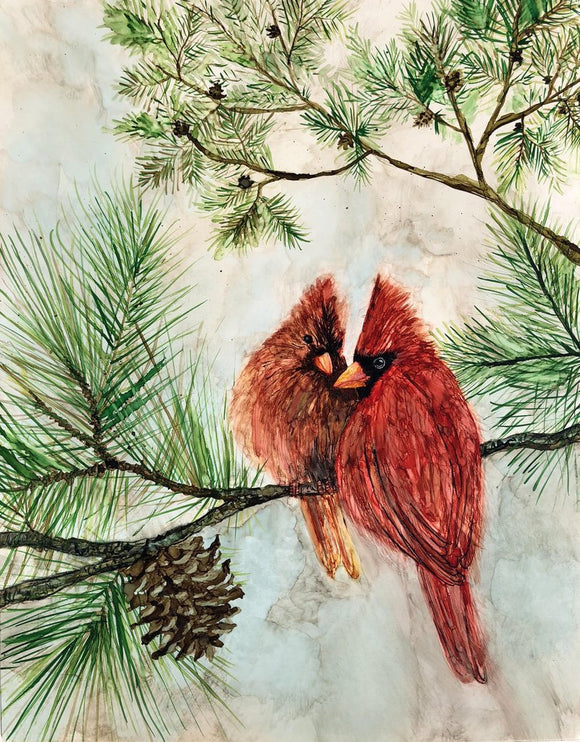 Cardinal Lovebirds : Prints