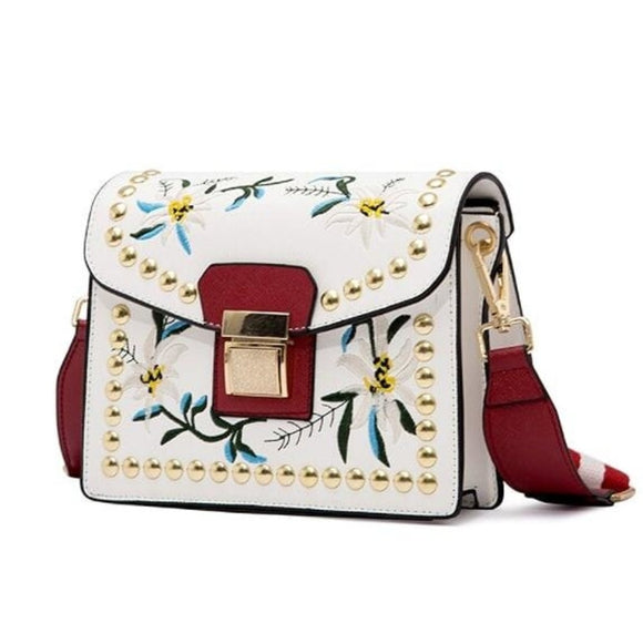 Small Embroidered Crossbody Vegan Leather Bag