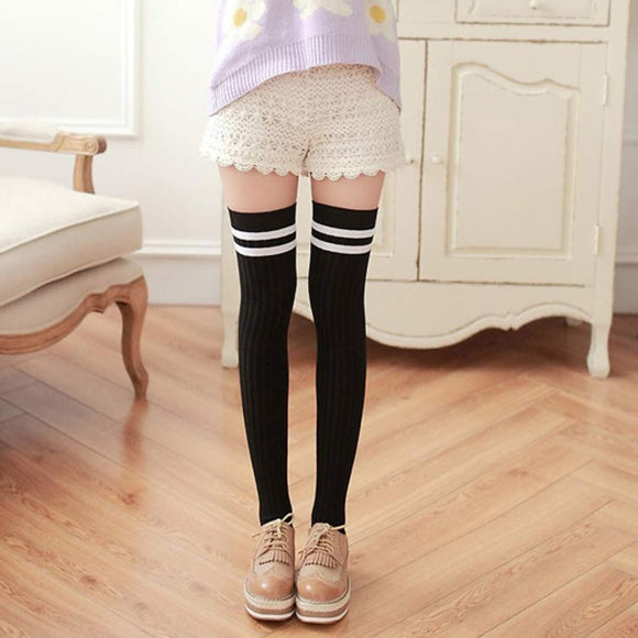 Sexy Hot Knitted Cashmere Knee-High Stripe Stockings