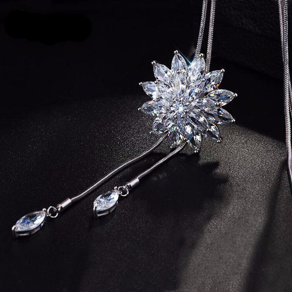 Flower Crystal Pendant Necklace