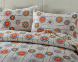 Bohemian Constellations Sun & Stars Patchwork Quilted Bedspread Set